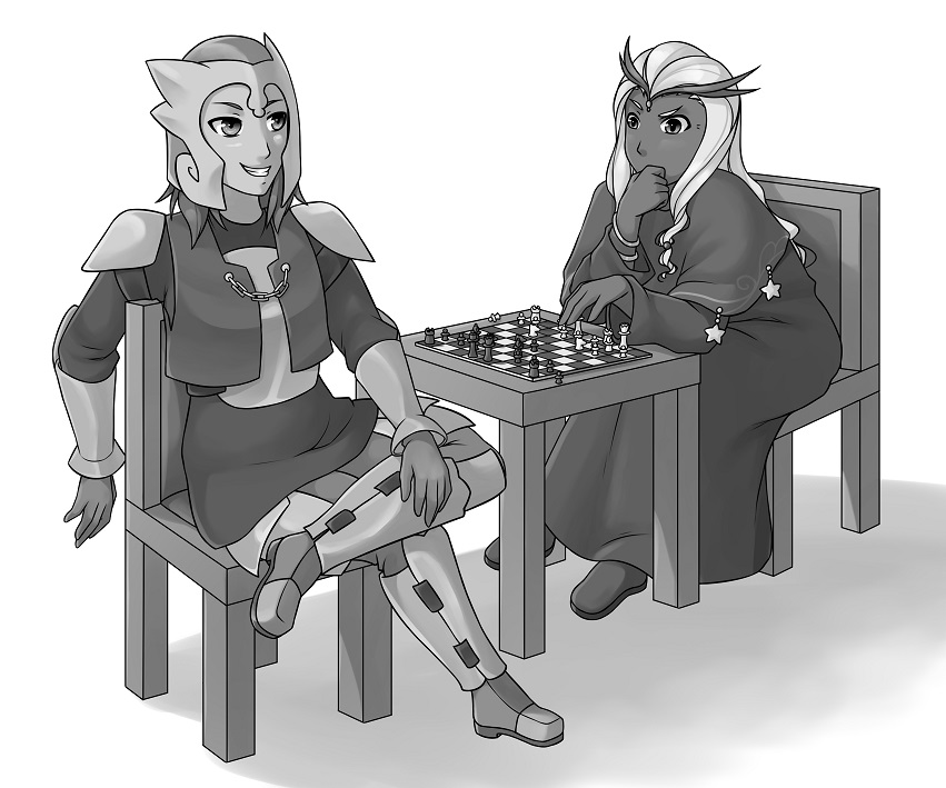 Characters playing chess